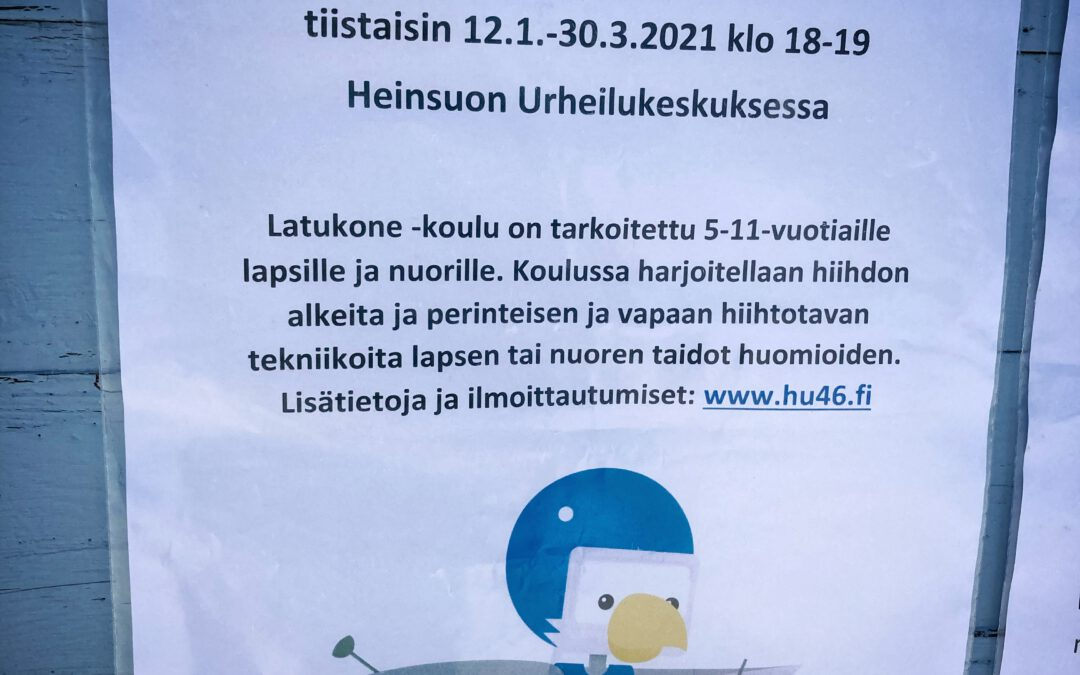 Hiihtokoulu jatkuu 12.1.21 klo 18 lumisella Heinsuolla!